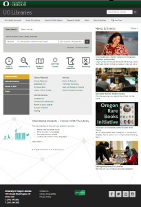 image: screenshot of UO Libraries website home page, as captured by Internet Archive April 4, 2016